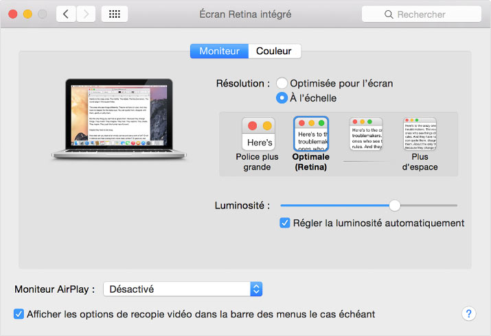 Monitor preferences for the 2015 Apple MacBook Pro 15-inch MacBook Pro