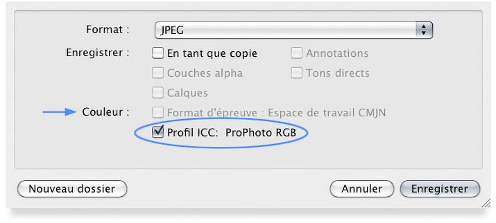 "Option ""incorporer le profil"" du menu Enregistrer sous de Photoshop"