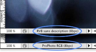 Information about the ICC port of the photo in the Photoshop status bar