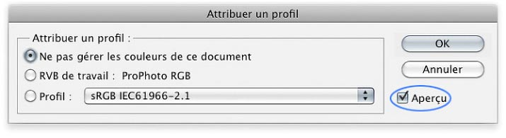 Photoshop -Assign Profile- menu