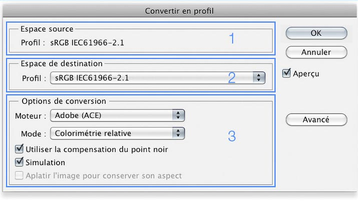Menu convert in profile with Photoshop