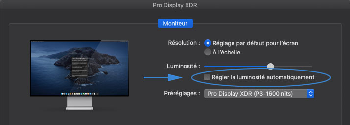 Monitor Preferences for Apple Pro Display XDR