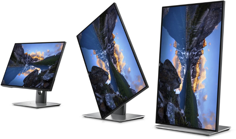 The Dell P2719H can be oriented in landscape or vertical