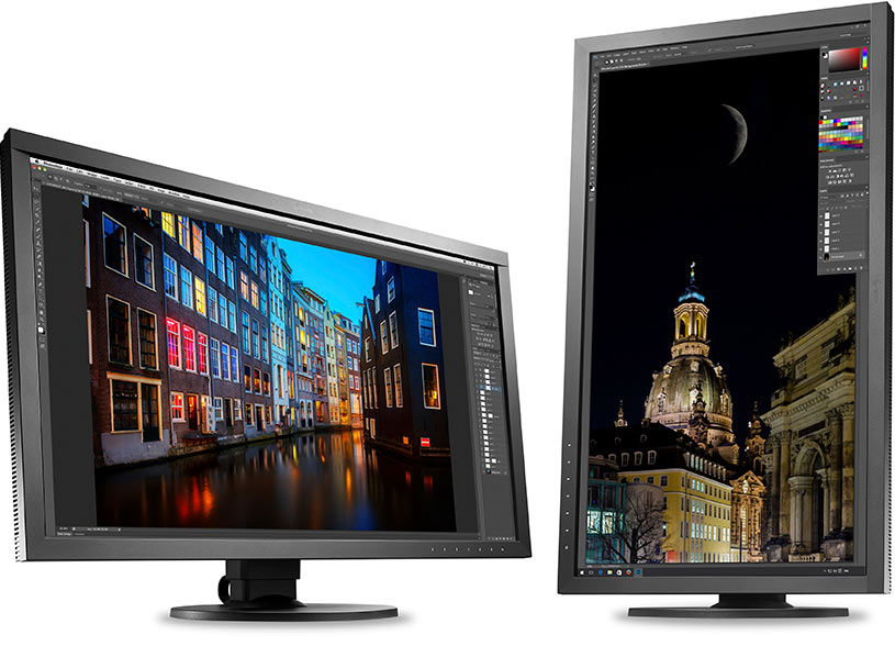 The Eizo CS2730 screen in landscape or portrait position
