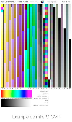 CMP-color printer calibration pattern